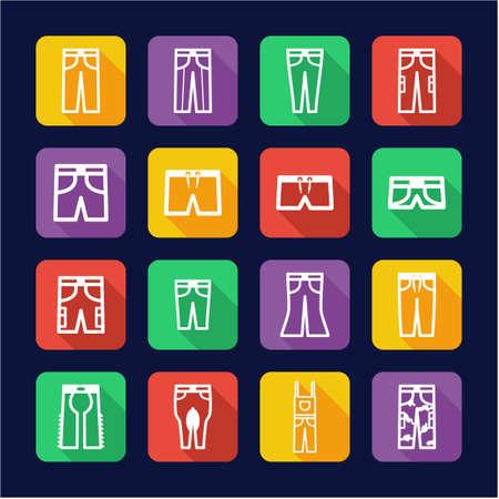 capri pants: Pants Icons Flat Design Illustration