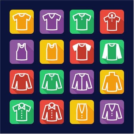 button up shirt: Shirt Icons Flat Design Illustration
