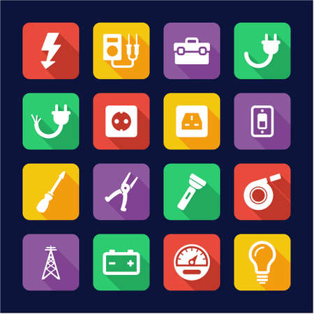 electrician: Electrician Icons Flat Design Illustration