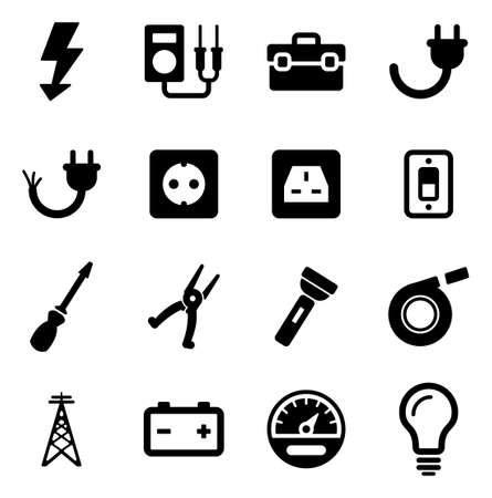 Electrician Icons Stock Illustratie