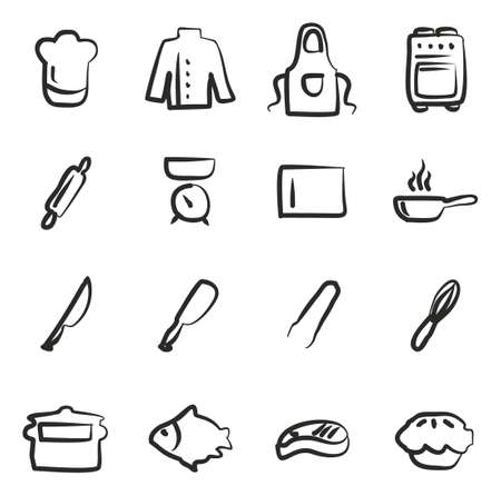 meat chopper: Chef Icons Freehand Illustration