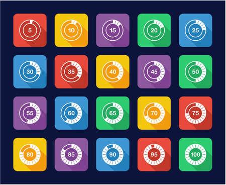 Loading Or Percentage Icons Set 2 Flat Design Illustration