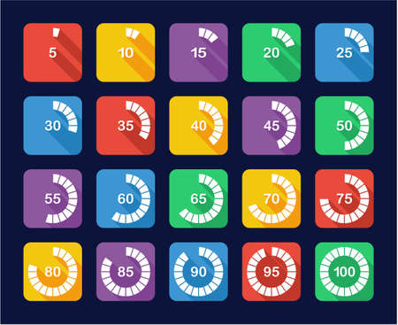 85 90: Loading Or Percentage Icons Set 3 Flat Design Illustration