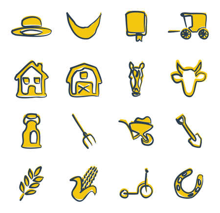 amish buggy: Amish Icons Freehand 2 Color