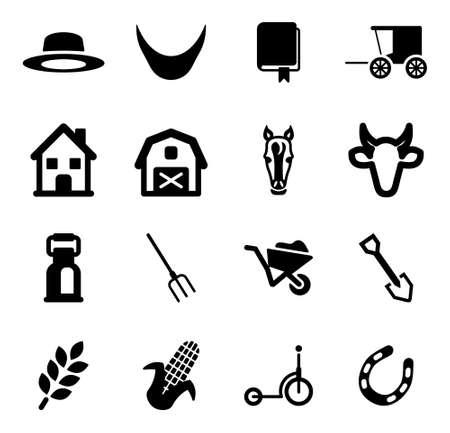 Amish Icons Vektorové ilustrace