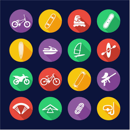 diving board: Extreme Sports Icons Flat Design Circle