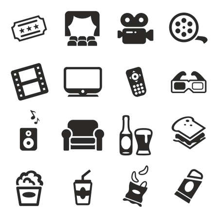 movie and popcorn: Movie Night Icons