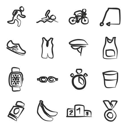triathlon: Triathlon Icons Freehand Illustration