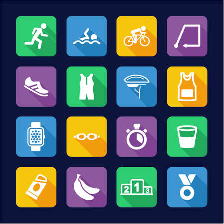swimming silhouette: Triathlon Icons Flat Design