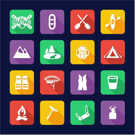 rapid fire: Rafting Icons Flat Design