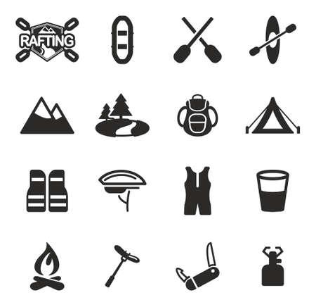 rapid fire: Rafting Icons Illustration