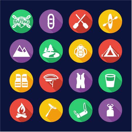 rowboat: Rafting Icons Flat Design Circle