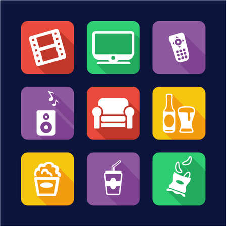 couch potato: Movie Night Icons Flat Design