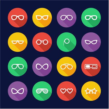 Eyeglasses Icons Flat Design Circle