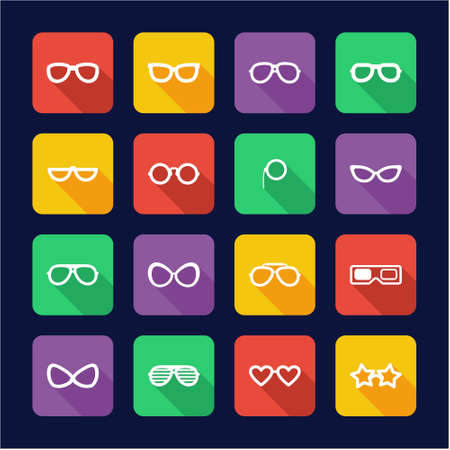 diopter: Eyeglasses Icons Flat Design