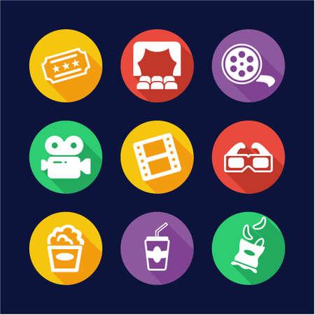 Cinema Icons Flat Design Circle Vector Illustratie