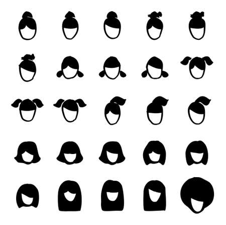 long straight hair: Female Haircut Icons Freehand Illustration