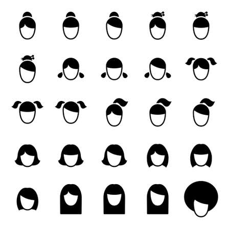 long straight hair: Female Haircut Icons Illustration