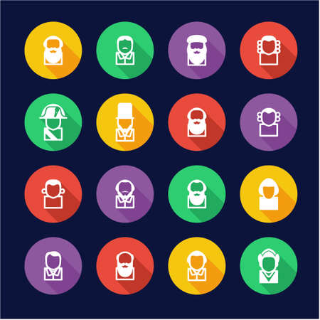 Avatar Icons Historical Figures Flat Design Circle Illustration