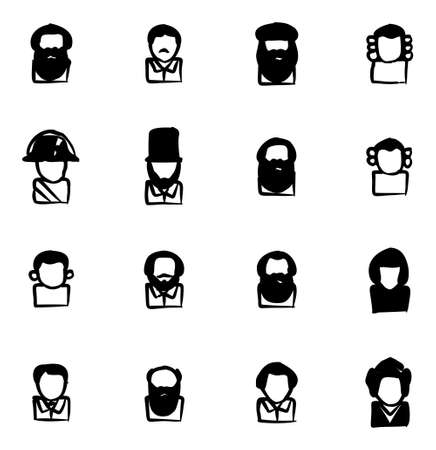 napoleon bonaparte: Avatar Icons Historical Figures Freehand Fill