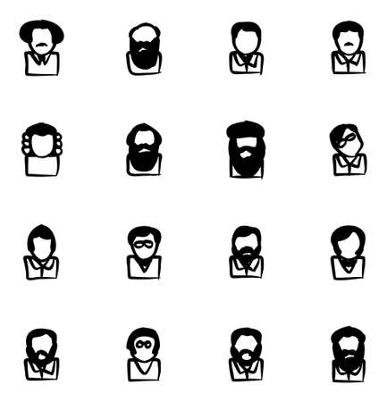 Avatar Icons Famous Scientists Freehand Fill Illustration