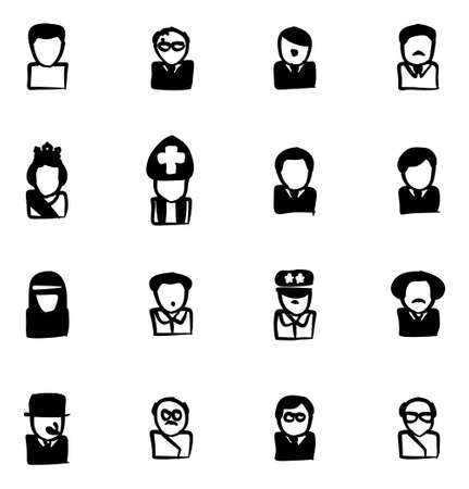 20th century: Avatar Icons 20th Century Historical Figures Freehand Fill