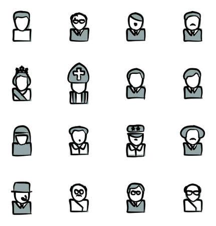 아바타 아이콘 20 세기 역사 수치 자유형 2 색