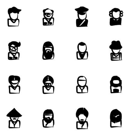 chinese adult: Avatar Icons Set 3 Freehand Fill