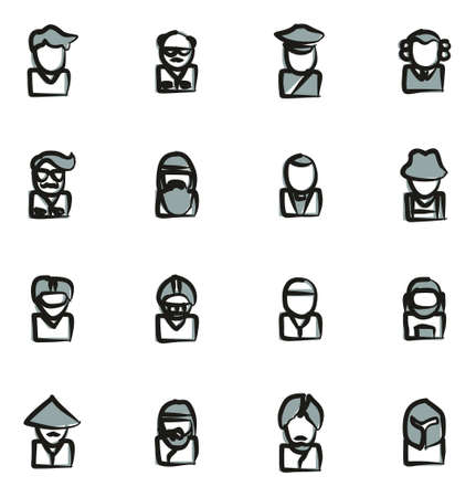 sheik: Avatar Icons Set 3 Freehand 2 Color Illustration