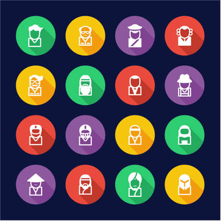 judge players: Avatar Icons Set 3 Flat Design Circle