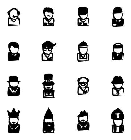 Avatar Icons Set 4 Freehand Fill
