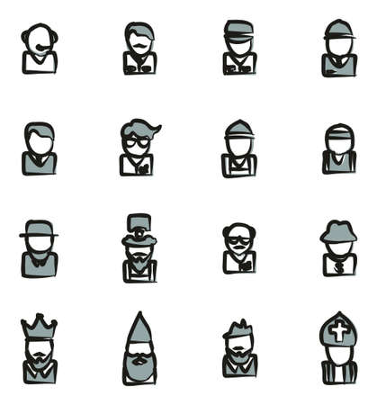 busboy: Avatar Icons Set 4 Freehand 2 Color