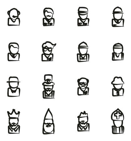 Avatar Icons Set 4 Freehand Illustration