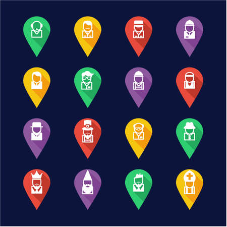 busboy: Avatar Icons Set 4 Flat Design Pin