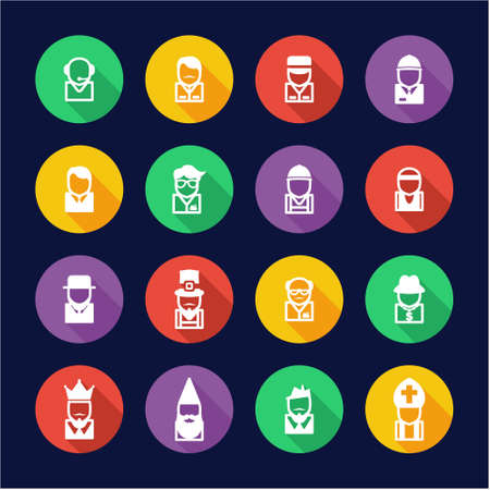 busboy: Avatar Icons Set 4 Flat Design Circle