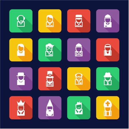 busboy: Avatar Icons Set 4 Flat Design Illustration