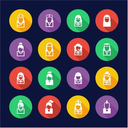 mrs santa claus: Avatar Icons Set 5 Flat Design Circle