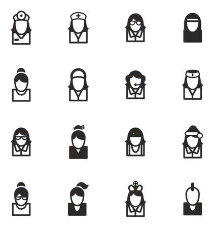 girl with glasses: Avatar Icons Set 5