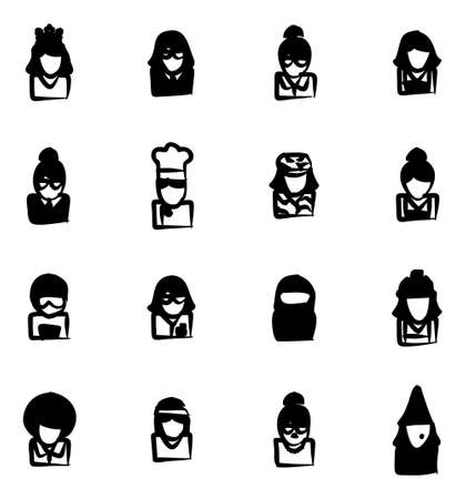 sexy army: Avatar Icons Set 6 Freehand Fill Illustration