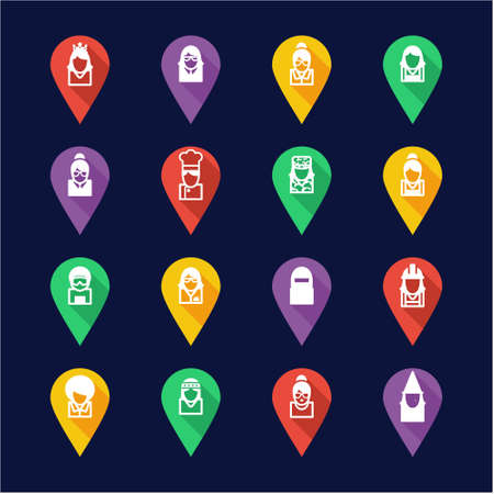 sexy army: Avatar Icons Set 6 Flat Design Pin Illustration