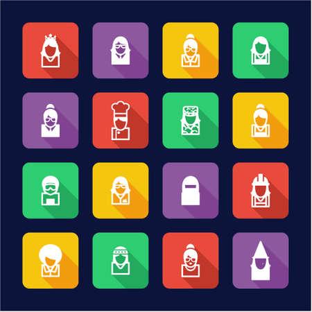 sexy army: Avatar Icons Set 6 Flat Design