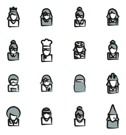 sexy army: Avatar Icons Set 6 Freehand 2 Color