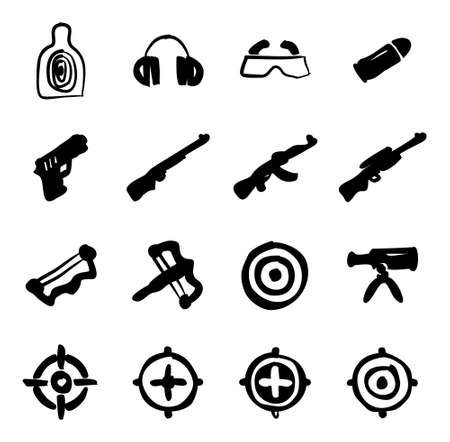 Shooting Range Icons Freehand Fill