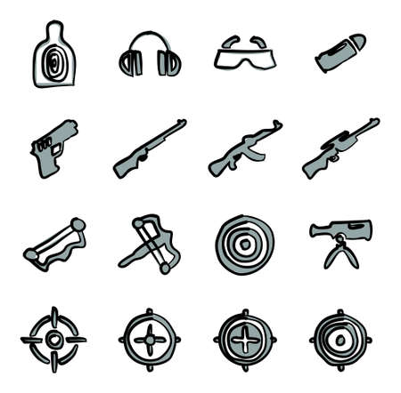 Shooting Range Icons Freehand 2 Color
