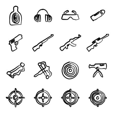 Shooting Range Icons Freehand Illustration