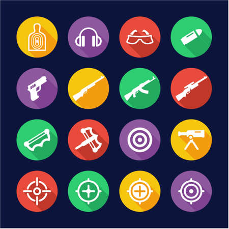 sniper training: Shooting Range Icons Flat Design Circle Illustration
