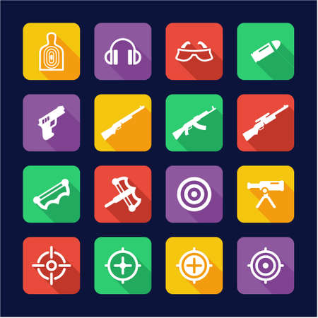 Shooting Range Icons Flat Design