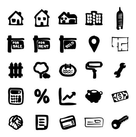 penthouse: Real Estate Market Icons Freehand Fill Illustration