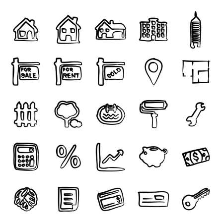 penthouse: Real Estate Market Icons Freehand