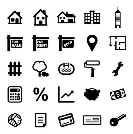 penthouse: Real Estate Market Icons Illustration